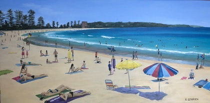 (CreativeWork) Manly Summer by Kylie Genrich. arcylic-painting. Shop online at Bluethumb.