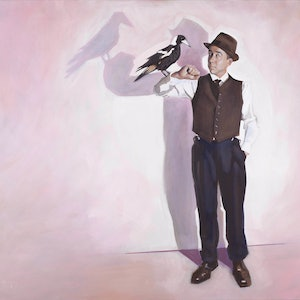 (CreativeWork) The Boxer and The Magpie by Ross Morgan. arcylic-painting. Shop online at Bluethumb.