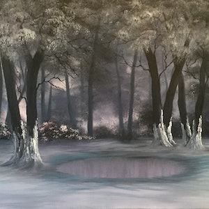 (CreativeWork) ICY POND by Matt Symons. oil-painting. Shop online at Bluethumb.