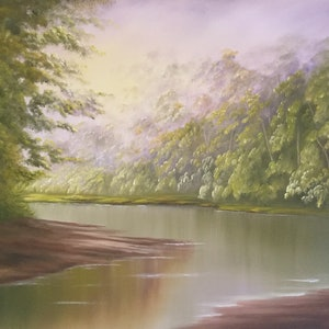 (CreativeWork) MISTY MORNING GLOW by Matt Symons. oil-painting. Shop online at Bluethumb.