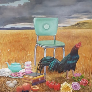 (CreativeWork) Summer Chair by Llael McDonald. oil-painting. Shop online at Bluethumb.