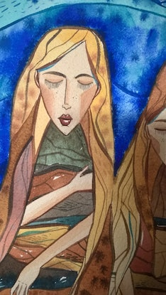 (CreativeWork) Three sisters by Irina Iris. Watercolour Paint. Shop online at Bluethumb.