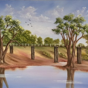 (CreativeWork) OUTBACK AFTERNOON by Matt Symons. oil-painting. Shop online at Bluethumb.