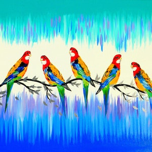 (CreativeWork) Australian parrots by Cathy Jacobs. arcylic-painting. Shop online at Bluethumb.