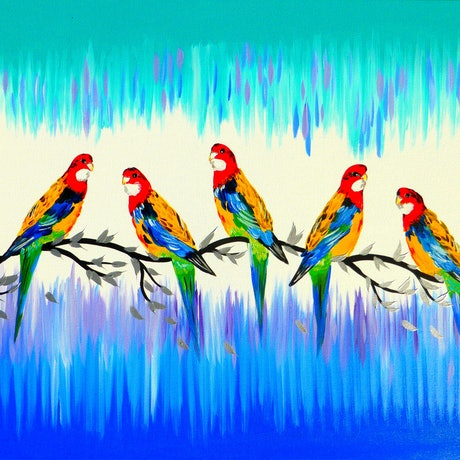 (CreativeWork) Australian parrots by Cathy Jacobs. Acrylic Paint. Shop online at Bluethumb.