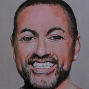 (CreativeWork) George Michael by Raymond Wittenberg. arcylic-painting. Shop online at Bluethumb.