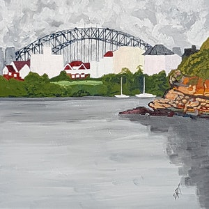 (CreativeWork) Cloud Cover. Whiting Beach looking towards the Sydney Harbour Bridge by David Foster. arcylic-painting. Shop online at Bluethumb.
