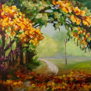 (CreativeWork) Autumn park by Natalie Maro. arcylic-painting. Shop online at Bluethumb.