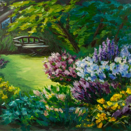 (CreativeWork) Dream garden by Natalie Maro. Acrylic Paint. Shop online at Bluethumb.