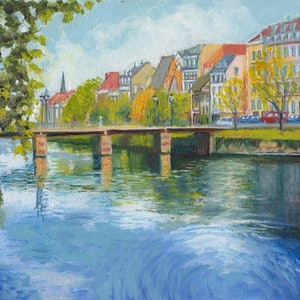 (CreativeWork) Strasbourg River, Northern France by Dai Wynn. oil-painting. Shop online at Bluethumb.