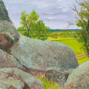 """(CreativeWork) """"Mad"""" Dan Morgan's Lookout, southern NSW by Dai Wynn. oil-painting. Shop online at Bluethumb."""