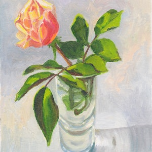 (CreativeWork) Pink and yellow rosebud in a glass vase by Dai Wynn. oil-painting. Shop online at Bluethumb.