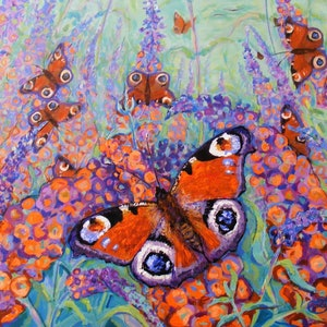 """(CreativeWork) """"Butterfly Bush"""" by Daniela Selir. arcylic-painting. Shop online at Bluethumb."""