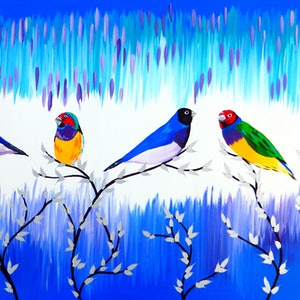 (CreativeWork) Finches and Freshness by Cathy Jacobs. arcylic-painting. Shop online at Bluethumb.