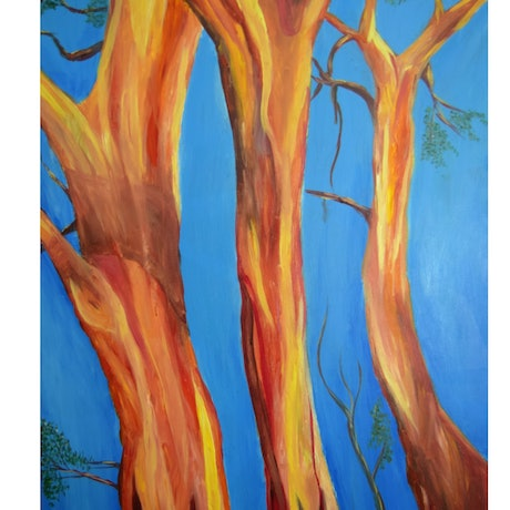 (CreativeWork) Blue Gum Red by Kelsey Young. Acrylic Paint. Shop online at Bluethumb.