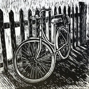 (CreativeWork) Bike against a fence Ed. 8 of 15 by Matthew Broughton. #<Filter:0x00007fbcb3aa7950>. Shop online at Bluethumb.