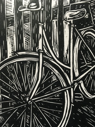 (CreativeWork) Bike against a fence Ed. 8 of 15 by Matthew Broughton. Print. Shop online at Bluethumb.