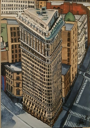 "(CreativeWork)  ""The Flat Iron"" ~ Original Painting ~ Ready to hang & send  by Helen Pynta. Acrylic Paint. Shop online at Bluethumb."