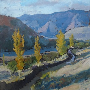 (CreativeWork) The autumn of the valley   by Valiollah Shaker. oil-painting. Shop online at Bluethumb.