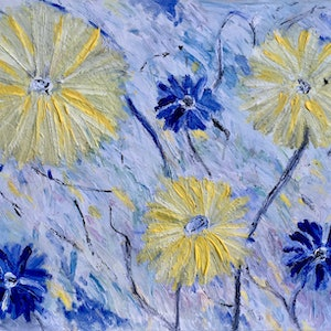 (CreativeWork) Energy daisies  by Jen Harris. mixed-media. Shop online at Bluethumb.