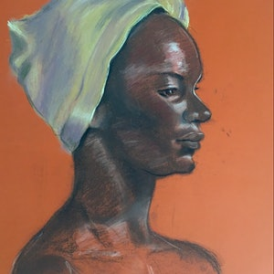 (CreativeWork) The Yellow Head Scarf by Margaret Ingles. other-media. Shop online at Bluethumb.