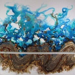 (CreativeWork) Surf's Up by Deborah Zibah. mixed-media. Shop online at Bluethumb.