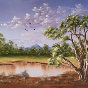 (CreativeWork) TWISTED EUCALYPTUS  TREE by Matt Symons. oil-painting. Shop online at Bluethumb.