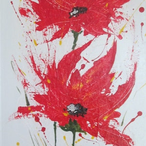 (CreativeWork) Flame Flowers by Jennie Smith. arcylic-painting. Shop online at Bluethumb.