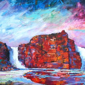 (CreativeWork) King George Waterfalls II by Jos Coufreur. arcylic-painting. Shop online at Bluethumb.