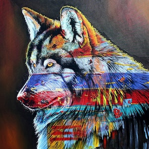 (CreativeWork) Rainbow Wolf Ed. 1 of 99 by Colour In Your Life. print. Shop online at Bluethumb.