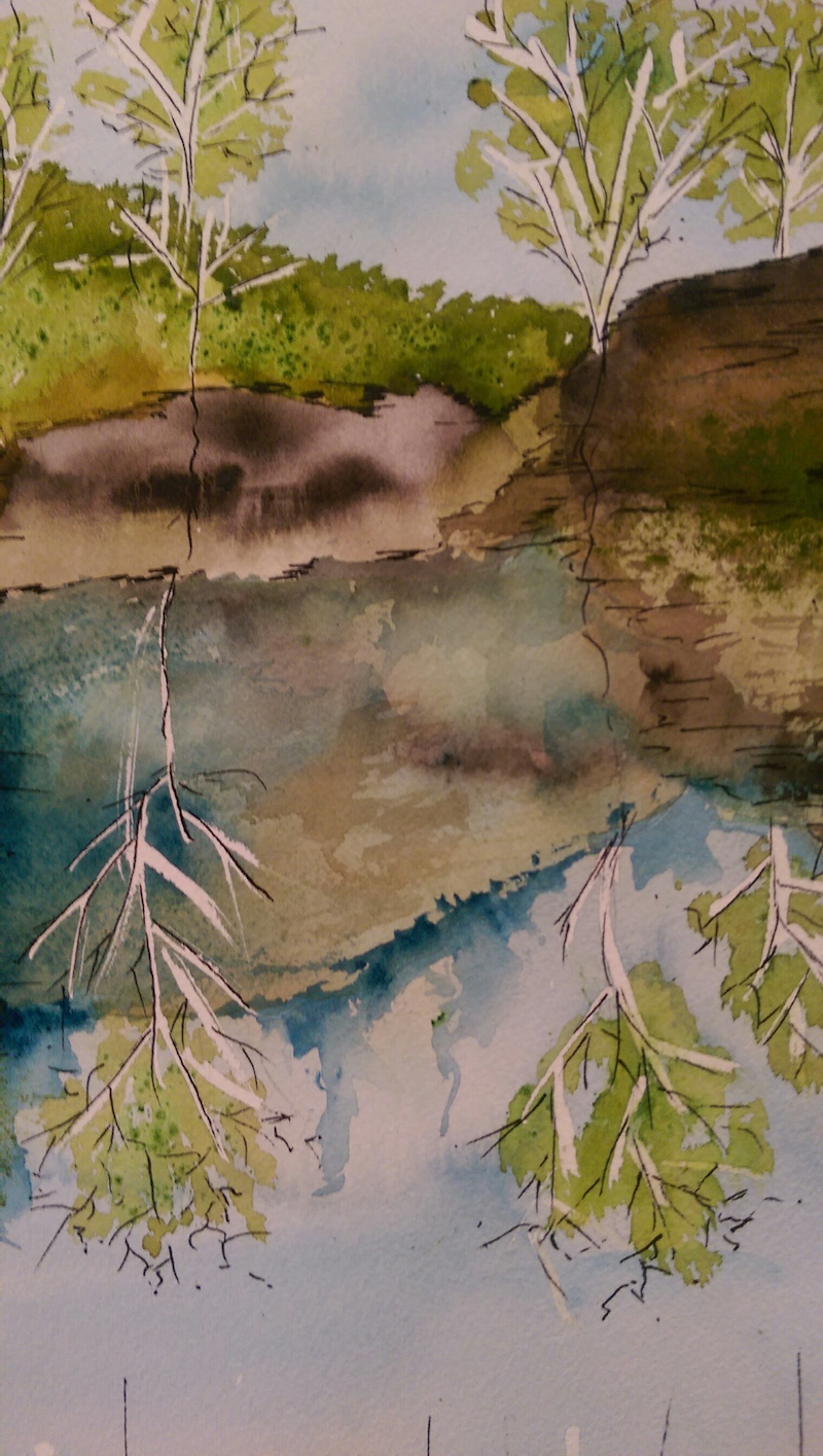(CreativeWork) Clarence Dam by Meredith Dixon. watercolour. Shop online at Bluethumb.