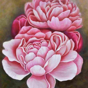 (CreativeWork) Peony by Janette Hafez. oil-painting. Shop online at Bluethumb.