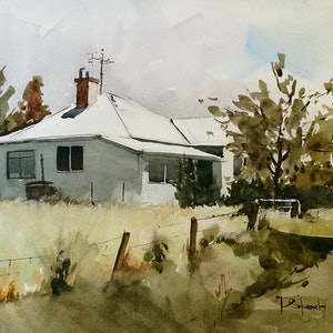 (CreativeWork) Private Property by Dylan Shearsby. watercolour. Shop online at Bluethumb.