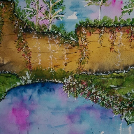 (CreativeWork) The Beautiful Place by Meredith Dixon. Watercolour Paint. Shop online at Bluethumb.