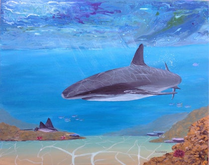 (CreativeWork) Sea Life by Kylie Genrich. arcylic-painting. Shop online at Bluethumb.