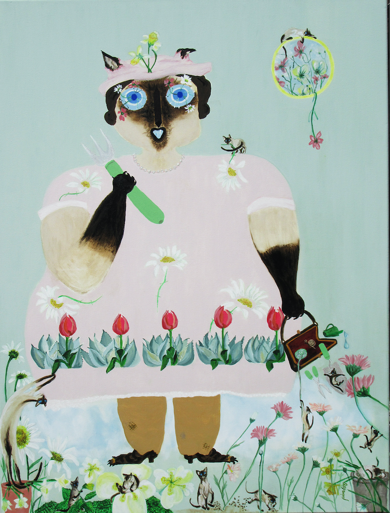 (CreativeWork) MRS  DALRYMPLE  LIKES  TO  GROW  FLOWERS.  Scandi Fun with a Siamese Cat by Lesley Taylor. arcylic-painting. Shop online at Bluethumb.