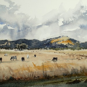 (CreativeWork) Yarra Glen From a Moving Car by Dylan Shearsby. watercolour. Shop online at Bluethumb.