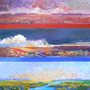 (CreativeWork) Winton Qld ,Changes Tryptic Drought to the wet. by Virginia McGowan. oil-painting. Shop online at Bluethumb.