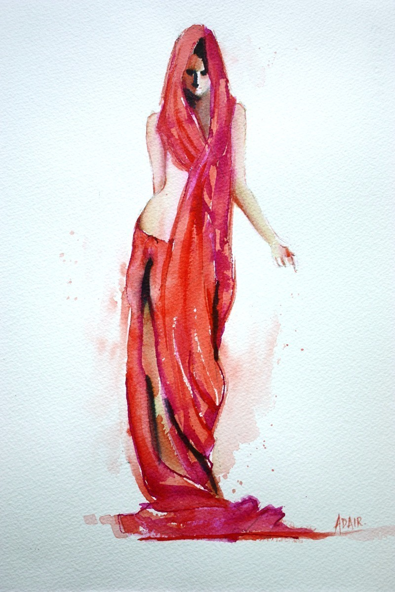 """(CreativeWork) """" Red Vision """" by Pauline Adair. watercolour. Shop online at Bluethumb."""