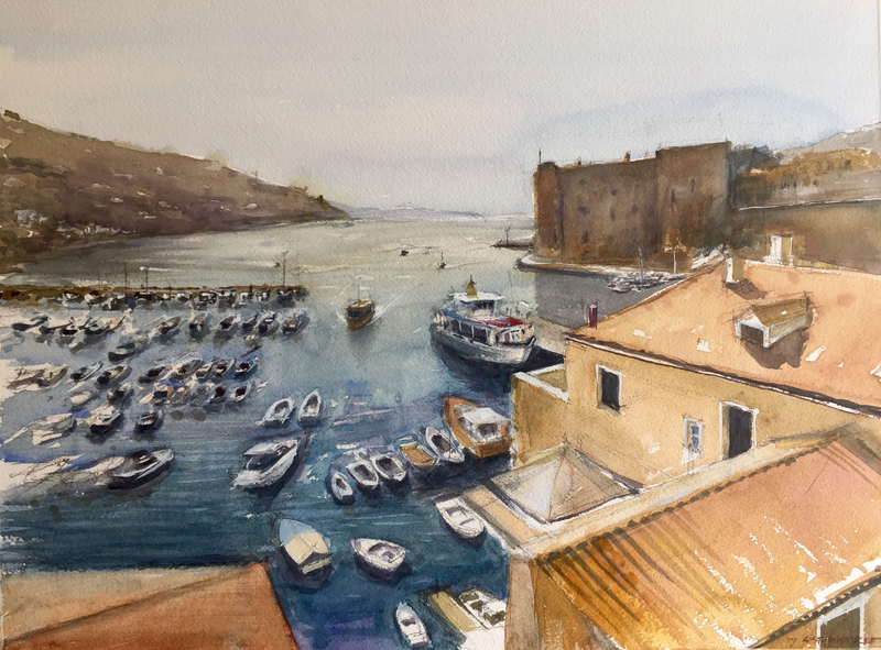 (CreativeWork) Dubrovnik Harbour , Croatia  by Geoff Stanistreet. Watercolour Paint. Shop online at Bluethumb.