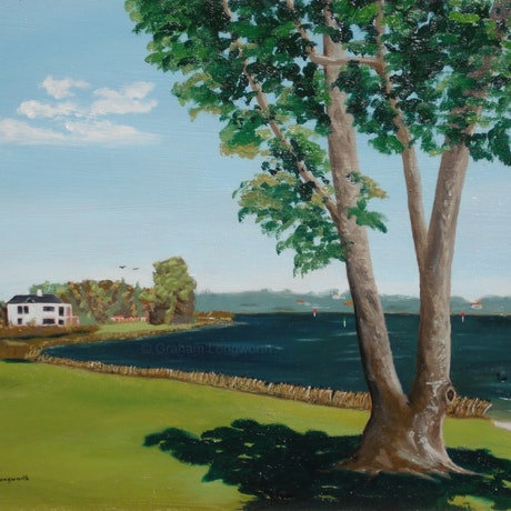(CreativeWork) Shelley foreshore by Graham Longworth. Oil Paint. Shop online at Bluethumb.