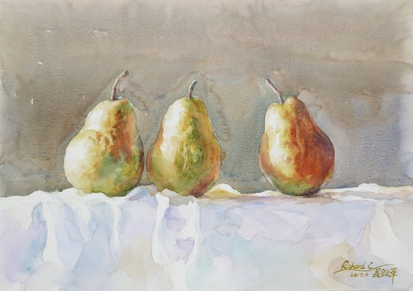 (CreativeWork) Three Pears by Richard(Tiejun) Chao. Watercolour Paint. Shop online at Bluethumb.