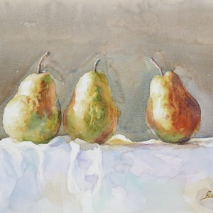 (CreativeWork) Three Pears by Richard(Tiejun) Chao. watercolour. Shop online at Bluethumb.