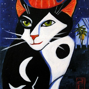 (CreativeWork) Cocteau's Cat by Dale Leach. arcylic-painting. Shop online at Bluethumb.
