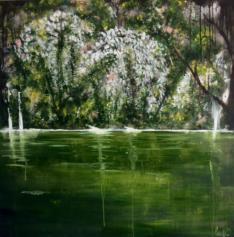 (CreativeWork) Great Otway National Park (Legend of the Dogwood Tree) 90x90  by Louise Croese. arcylic-painting. Shop online at Bluethumb.