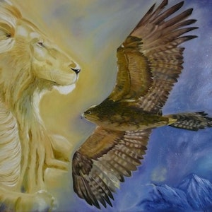 (CreativeWork) The Overseer by Rosemary Williamson. oil-painting. Shop online at Bluethumb.
