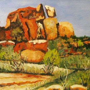 (CreativeWork) Arkaroola ridge by Andrew BARR. oil-painting. Shop online at Bluethumb.