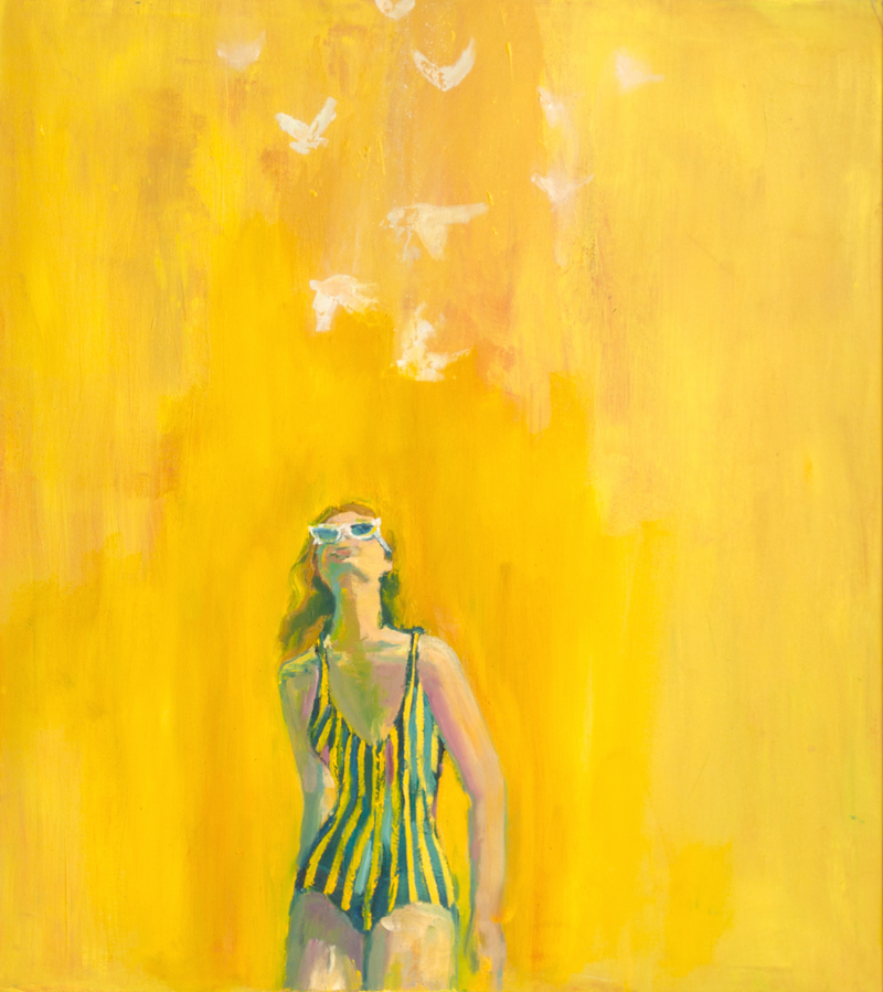 (CreativeWork) La Vie En Jaune by Sara Roberts. oil-painting. Shop online at Bluethumb.
