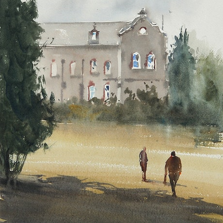 (CreativeWork) Abbotsford Convent by Dylan Shearsby. Watercolour Paint. Shop online at Bluethumb.
