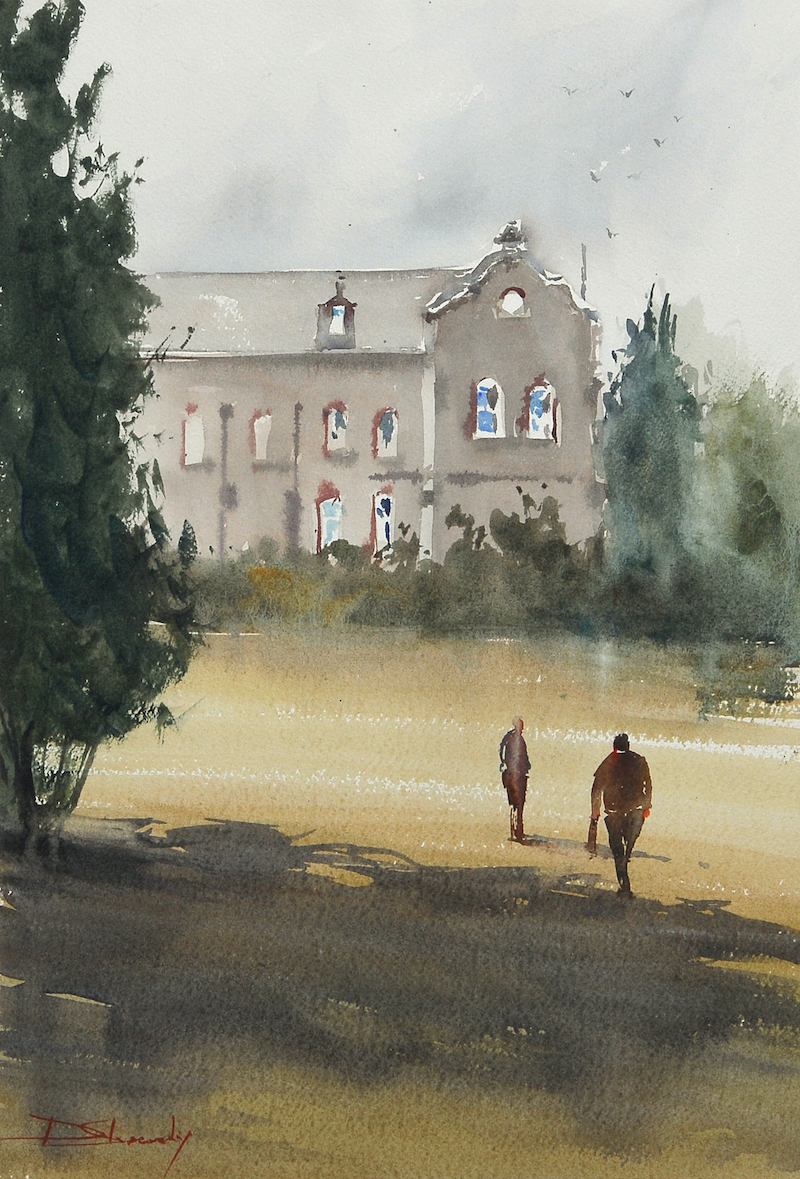 (CreativeWork) Abbotsford Convent by Dylan Shearsby. watercolour. Shop online at Bluethumb.